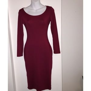 Small Burgundy Body Fitting Dress, Back Out